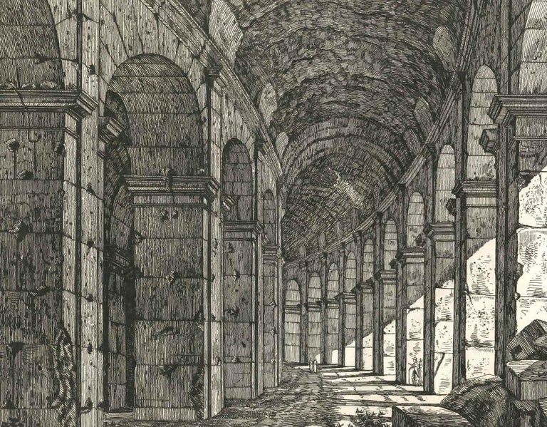 View of a Loggia of The Colosseum in Rome Engraving Signed Dated Luigi Rossini  For Sale 2