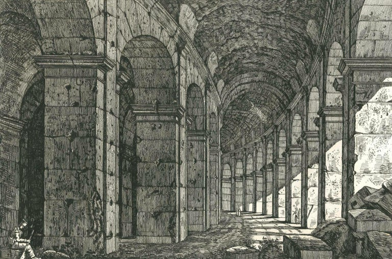 View of a Loggia of The Colosseum in Rome Engraving Signed Dated Luigi Rossini  For Sale 3
