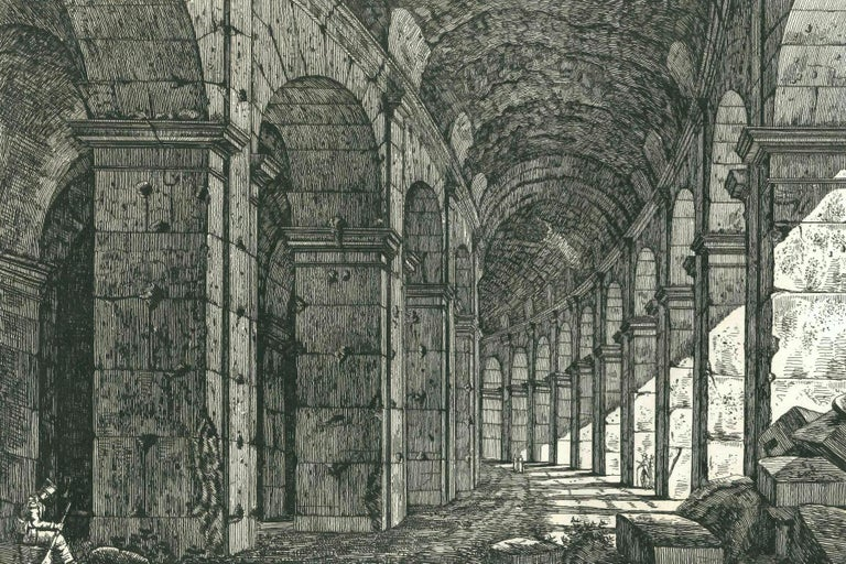 View of a Loggia of The Colosseum in Rome Engraving Signed Dated Luigi Rossini  For Sale 4