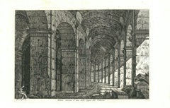View of a Loggia of The Colosseum in Rome Engraving Signed Dated Luigi Rossini