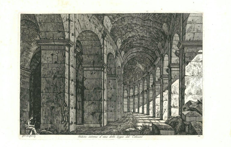 View of a Loggia of The Colosseum in Rome Engraving Signed Dated Luigi Rossini  - Print by Luigi Rossini