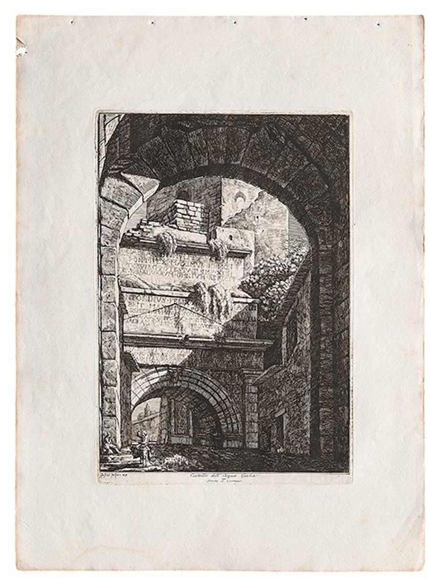 Landscape View Of Roman Architecture and Ruins Signed Luigi Rossini
