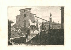 View of the Capitoline Hill in Rome Engraving Signed and Dated Luigi Rossini
