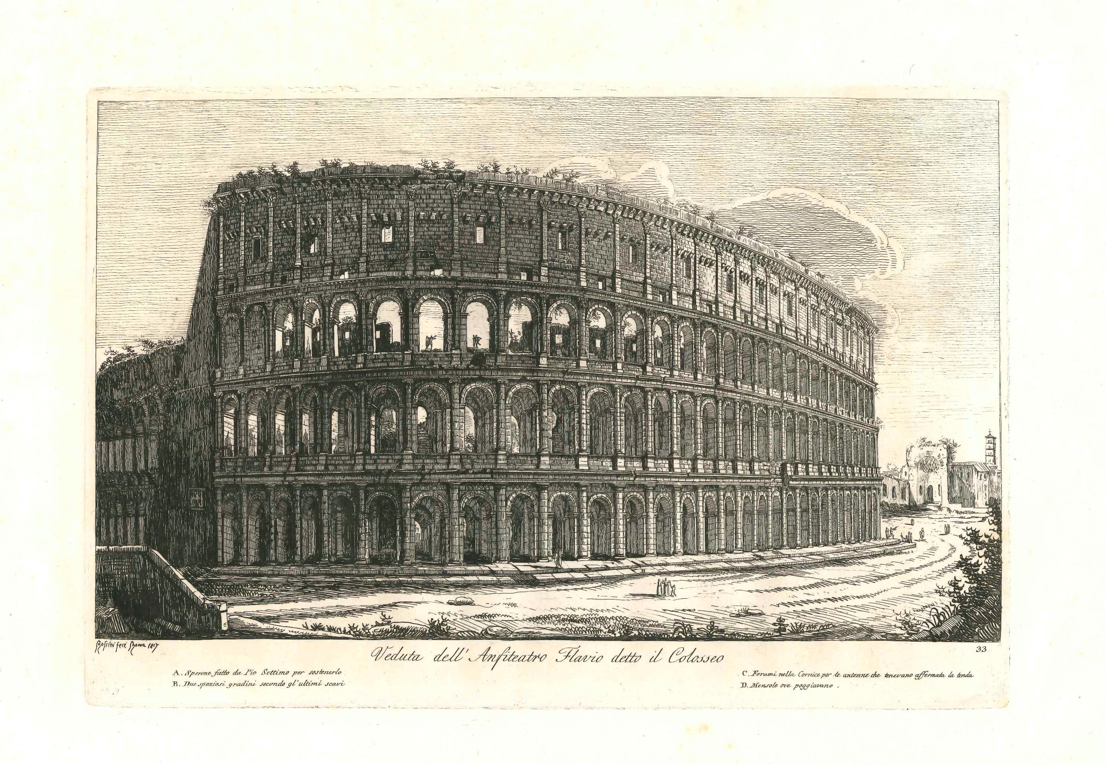 1800 Colosseum Landscape Realist in Rome Engraving Luigi Rossini on Paper