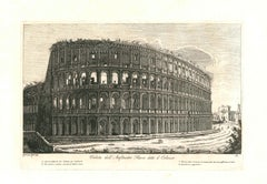 View of the Colosseum in Rome Engraving Signed and Dated Luigi Rossini