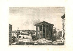 View of the Temple of Vesta in Rome Engraving Signed and Dated Luigi Rossini