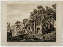 Villa di Domiziano - Original Etching by Luigi Rossini - 1826