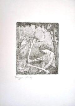 Carezza,  Morte - Original Etching by L. Russolo