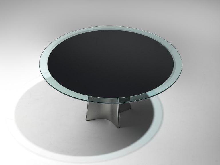 Italian Luigi Saccardo Dining Table in Metal and Glass For Sale