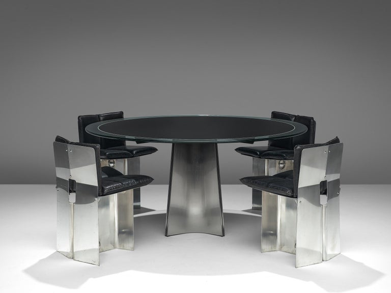 Luigi Saccardo Dining Table in Metal and Glass For Sale 1