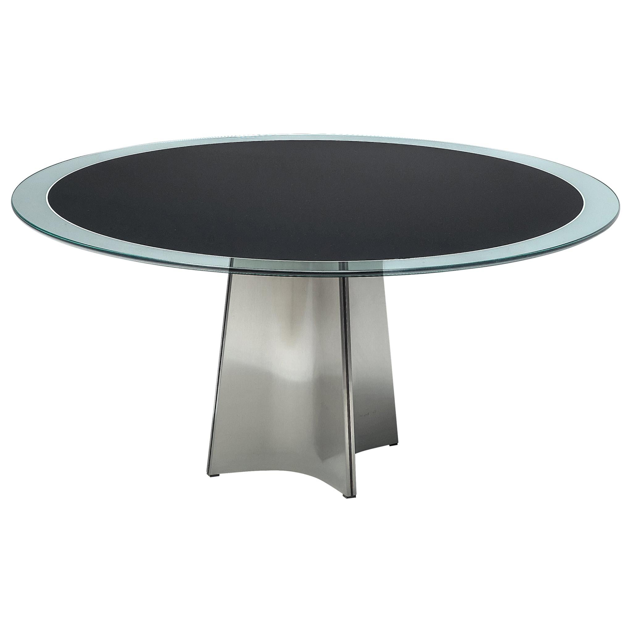 Luigi Saccardo Dining Table in Metal and Glass