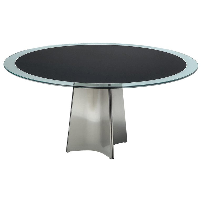 Luigi Saccardo Dining Table in Metal and Glass For Sale