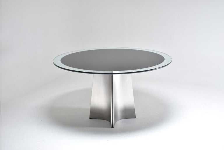 Luigi Saccardo for Armet Pedestal Round Dining Table, 1970, France For Sale 2
