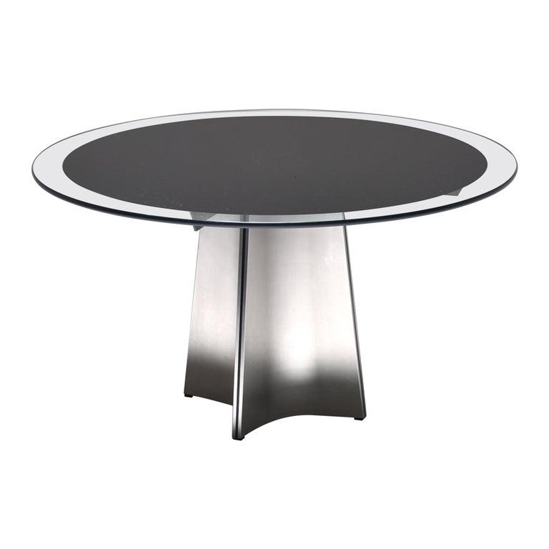 Luigi Saccardo for Armet Pedestal Round Dining Table, 1970, France For Sale