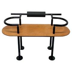Luigi Saccardo Postmodern Black Metal and Brown Leather Bench for Polflex