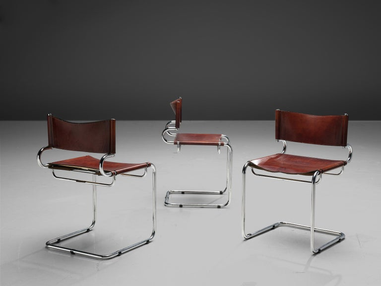 Luigi Saccardo Set of 6 'Terrj' Dining Chairs in Metal and Red Leather For Sale 4