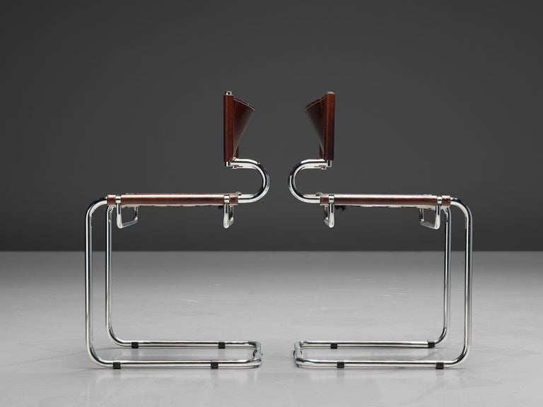 Luigi Saccardo Set of 6 'Terrj' Dining Chairs in Metal and Red Leather For Sale 5