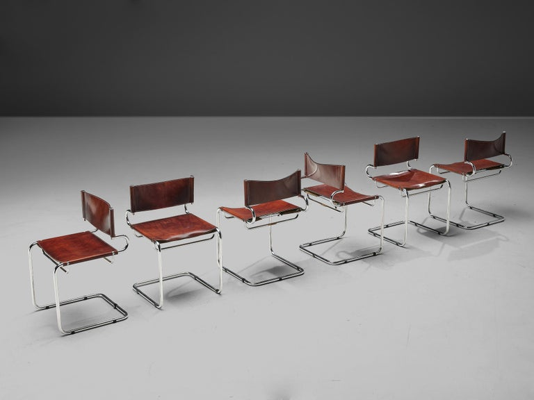 Mid-Century Modern Luigi Saccardo Set of 6 'Terrj' Dining Chairs in Metal and Red Leather For Sale