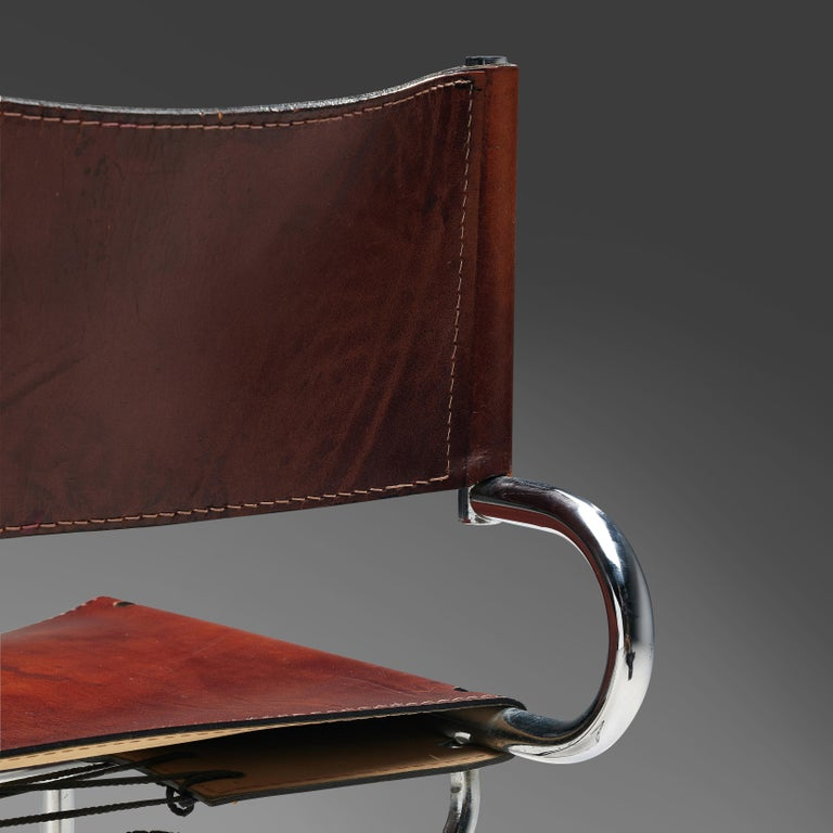 Late 20th Century Luigi Saccardo Set of 6 'Terrj' Dining Chairs in Metal and Red Leather For Sale