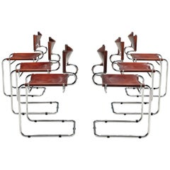 Luigi Saccardo Set of 6 'Terrj' Dining Chairs in Metal and Red Leather