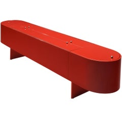 Luigi Saccardo Sideboard with Dry Bar Model 'Parentisi' in Red Lacquered Wood
