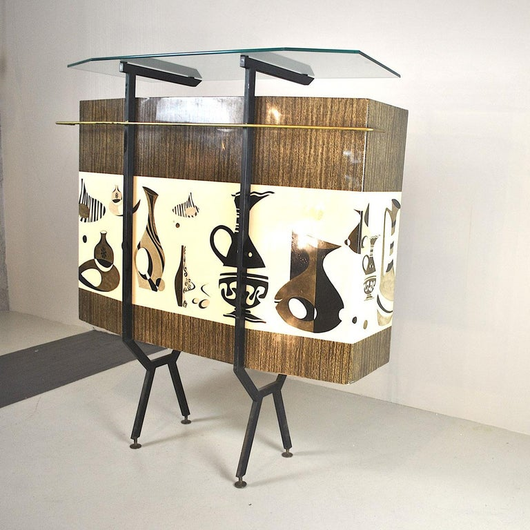 Luigi Scremin Italian Cabinet Bar with Two Stools from the 1960s For Sale 4