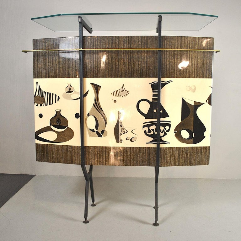 Luigi Scremin Italian Cabinet Bar with Two Stools from the 1960s For Sale 5