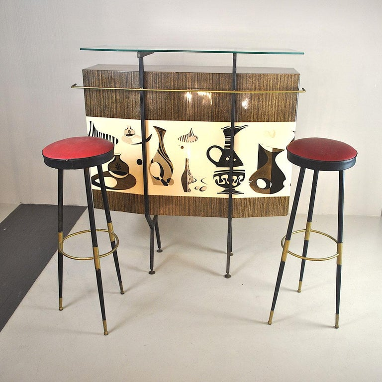 Luigi Scremin Italian Cabinet Bar with Two Stools from the 1960s For Sale 6