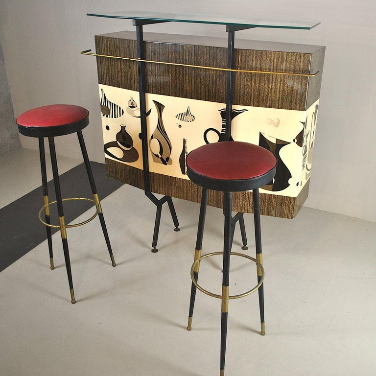 Luigi Scremin Italian Cabinet Bar with Two Stools from the 1960s For Sale 8