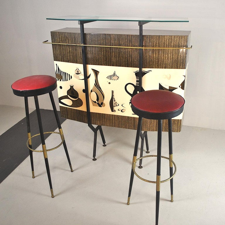 Luigi Scremin Italian Cabinet Bar with Two Stools from the 1960s For Sale 9