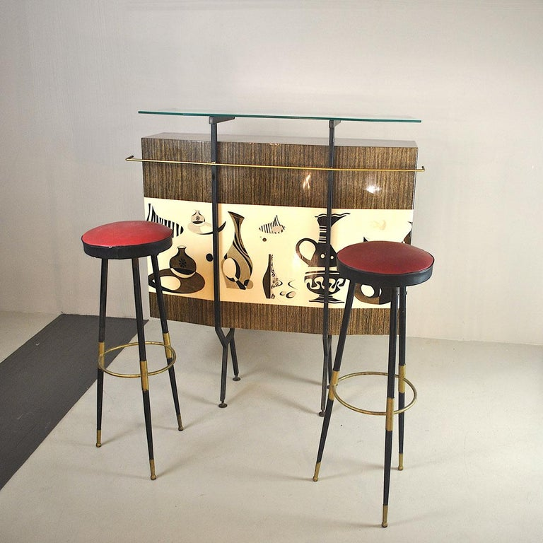 Luigi Scremin Italian Cabinet Bar with Two Stools from the 1960s For Sale 10