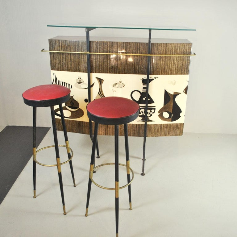 Luigi Scremin Italian Cabinet Bar with Two Stools from the 1960s For Sale 11