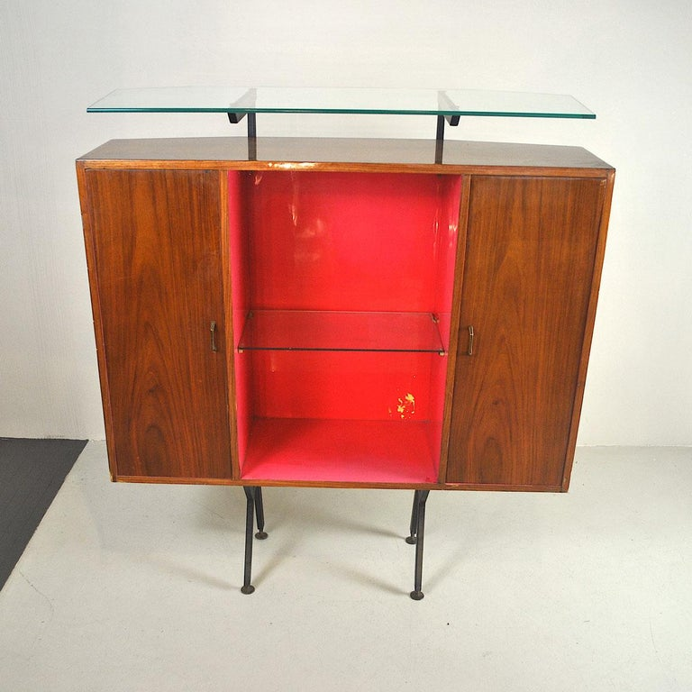 Luigi Scremin Italian Cabinet Bar with Two Stools from the 1960s For Sale 12