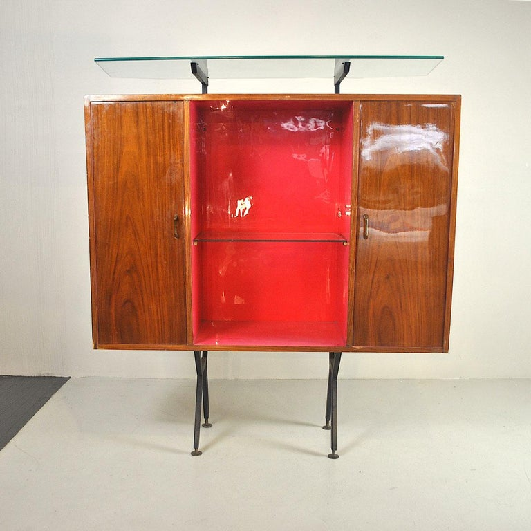 Luigi Scremin Italian Cabinet Bar with Two Stools from the 1960s For Sale 13