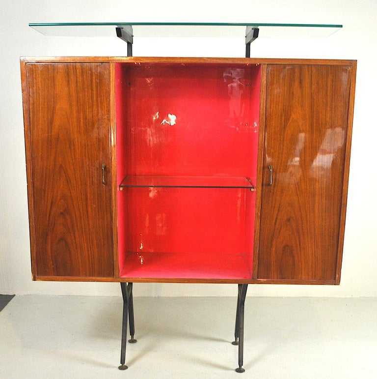 Luigi Scremin Italian Cabinet Bar with Two Stools from the 1960s For Sale 14