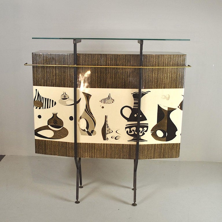 Mid-20th Century Luigi Scremin Italian Cabinet Bar with Two Stools from the 1960s For Sale