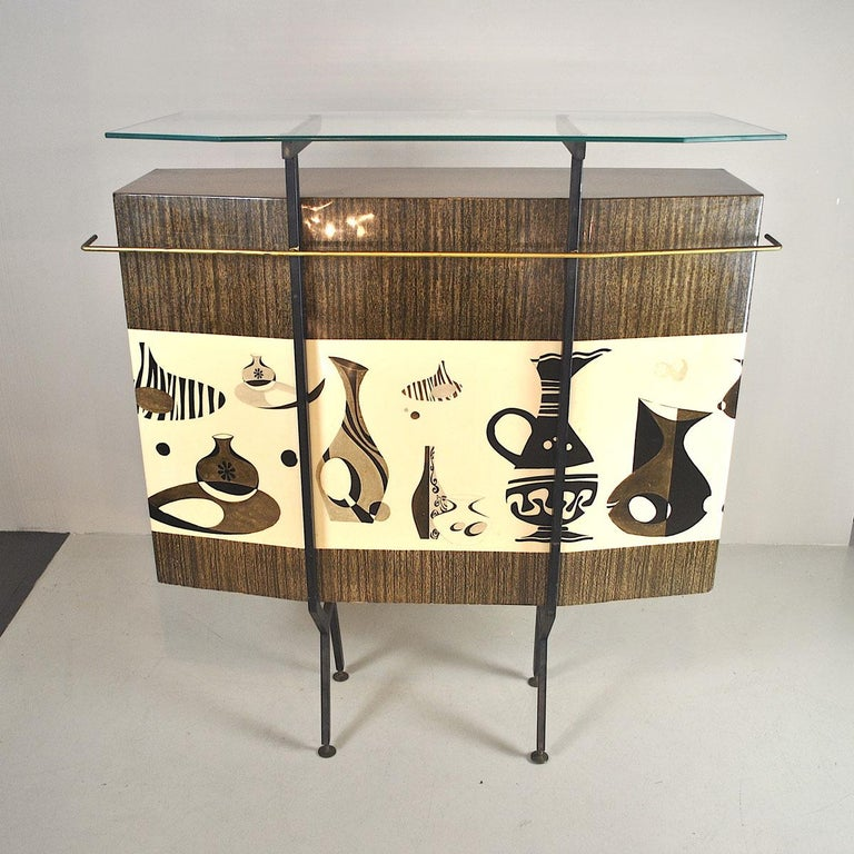 Steel Luigi Scremin Italian Cabinet Bar with Two Stools from the 1960s For Sale