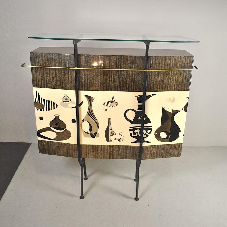 Luigi Scremin Italian Cabinet Bar with Two Stools from the 1960s For Sale 1