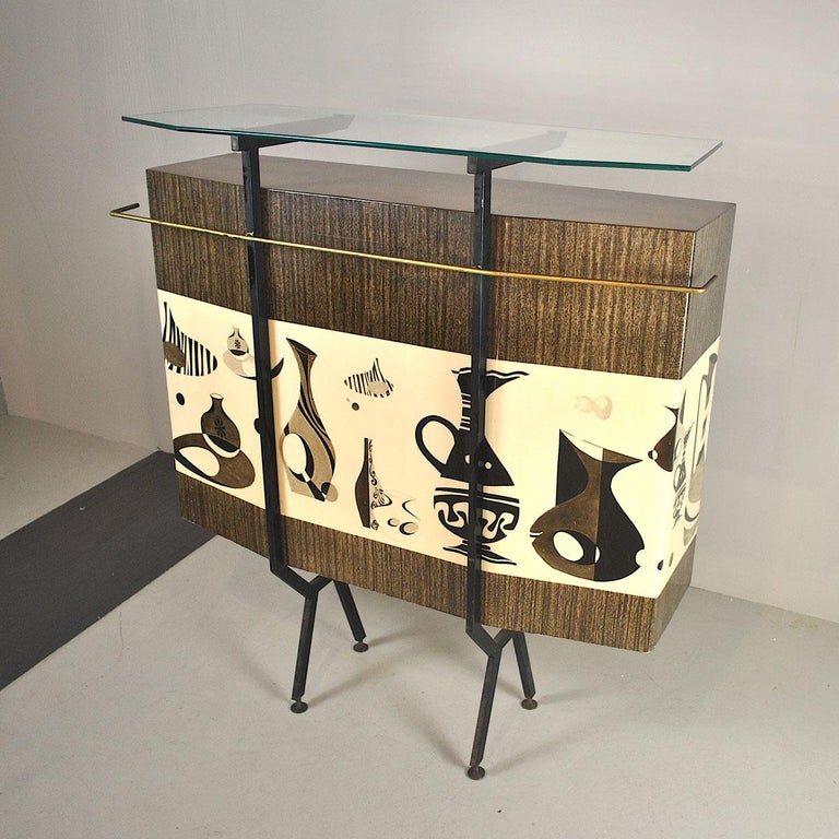 Luigi Scremin Italian Cabinet Bar with Two Stools from the 1960s For Sale 2