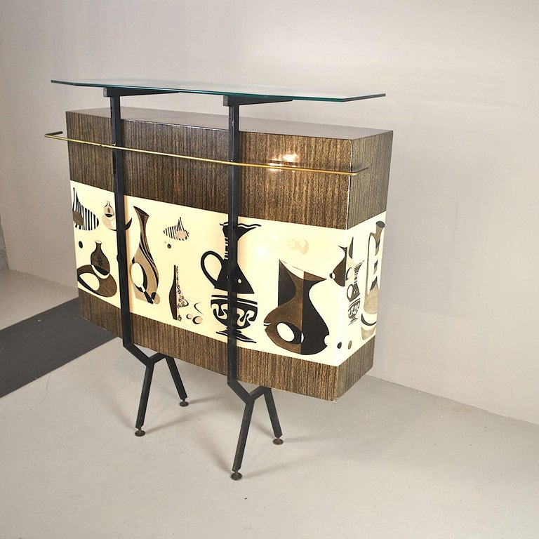 Luigi Scremin Italian Cabinet Bar with Two Stools from the 1960s For Sale 3