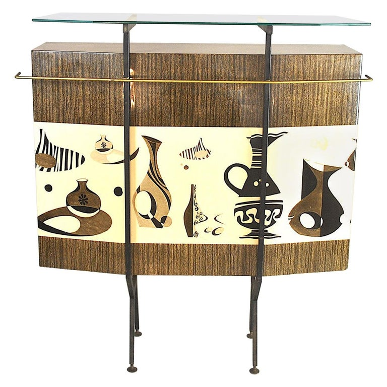 Luigi Scremin Italian Cabinet Bar with Two Stools from the 1960s For Sale