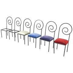 Luigi Serafini Italian Midcentury Designer Six Chairs 1980s Model Suspiral