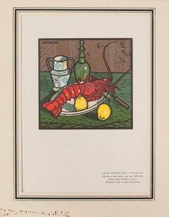 The Lobster - Original Woodcut by Luigi Servolini - 1950