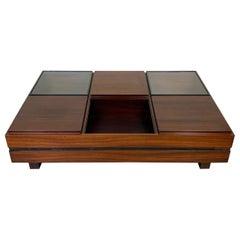 Luigi Sormani Rectangular Modular Coffee Table in Wood, Italy, 1960s