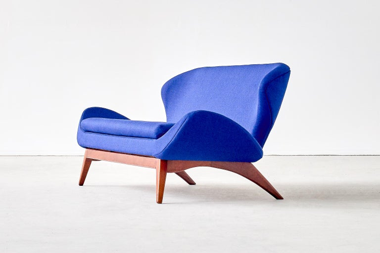 Canadian Luigi Tiengo Sofa in Walnut and Blue Raf Simons Fabric for Cimon Montréal, 1963 For Sale