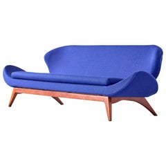 Luigi Tiengo Sofa in Walnut and Blue Raf Simons Fabric for Cimon Montréal, 1963