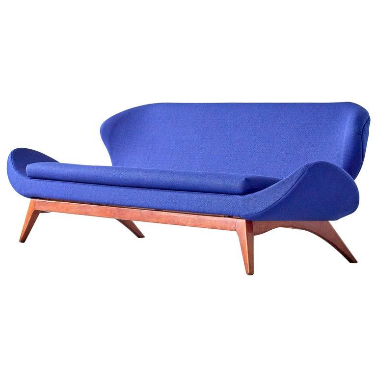 Luigi Tiengo Sofa in Walnut and Blue Raf Simons Fabric for Cimon Montréal, 1963 For Sale