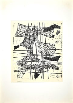 Composition - Original Linocut by Luigi Veronesi - 1964