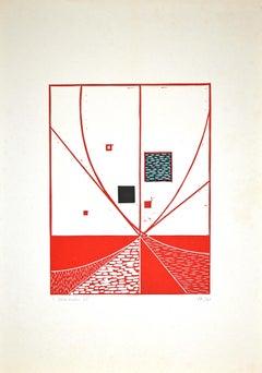 Composition - Original Linocut by Luigi Veronesi - 1975