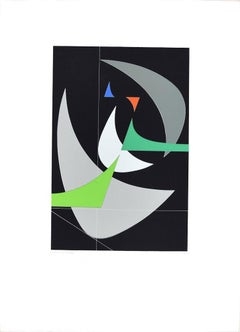 Crescent Moon  - Original Screen Print by Luigi Veronesi - 1970/76